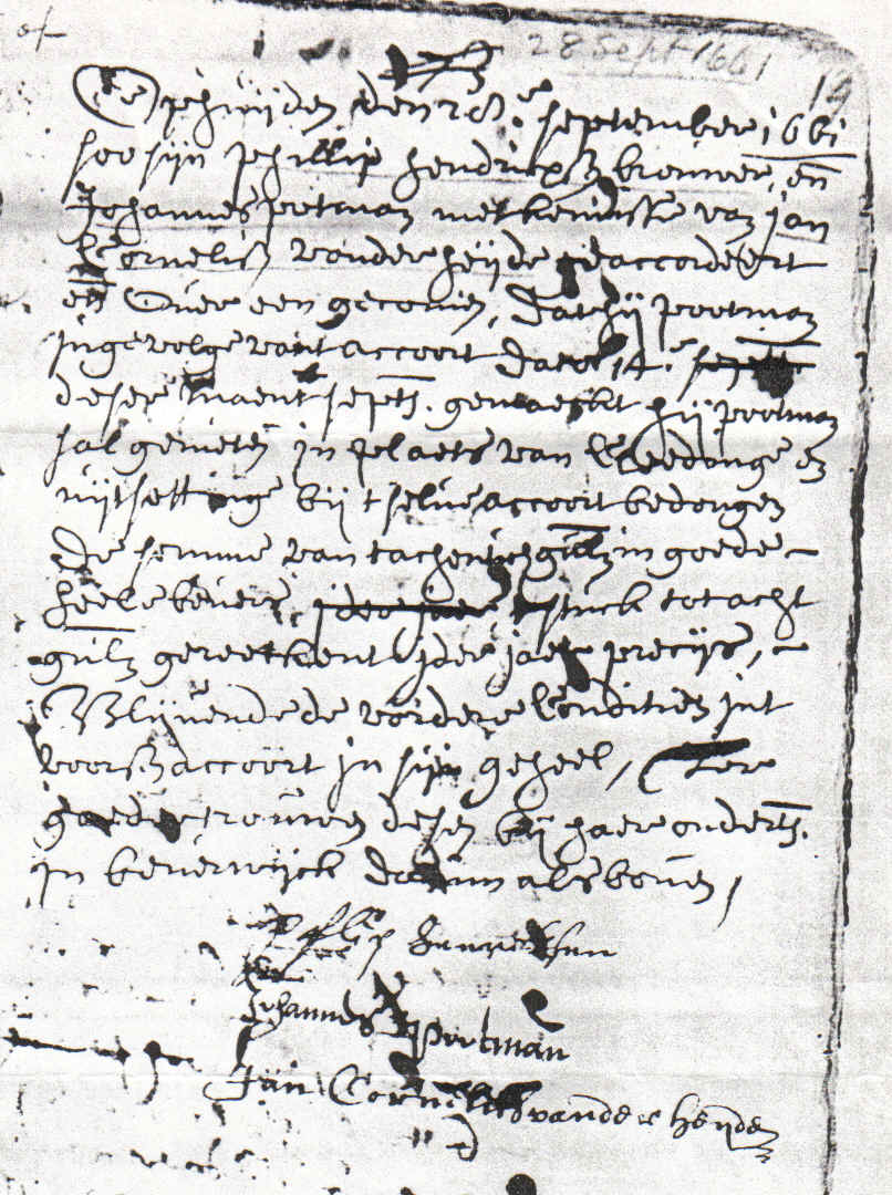 Johannes Pootman's Signature September 14, 1661